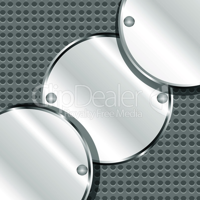 Abstract vector background with round metal plates