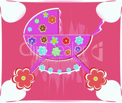 Vector card for baby - shower. perambulator for girl