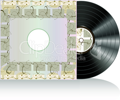 Black vector vinyl disc with grunge abstract cover