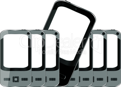 Mobile phones background with empty screen isolated on white