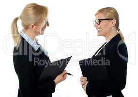 Corporate womans meet face to face
