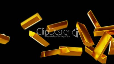 Gold bars or bullions flow with slow motion. Wealth and success