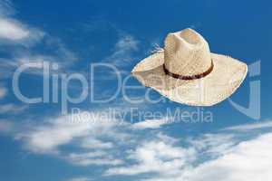 Straw hat flying through the air