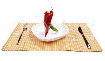 Bright red and bright green chilli pepper
