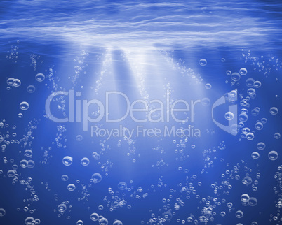 Blue sea underwater with air bubbles