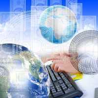 human hand and computer keyboard