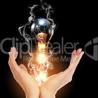 human hand and bulb