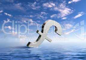 Currency symbols floating in blue sea
