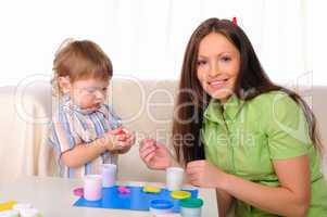 Mom and son having fun together