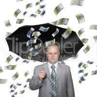 Bald young businessman with banknotes
