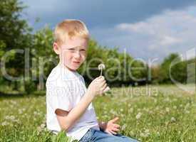 litlle boy with dandelion