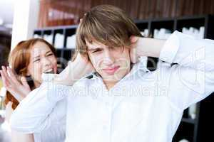 couple in disagreement at home