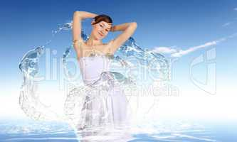 Woman against water background