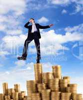 Young businessman taking risky steps
