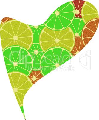 citrus fruit heart. Isolated on white background