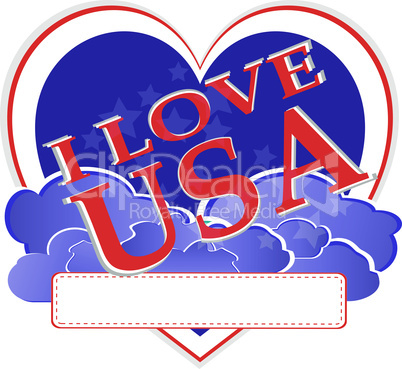 american independence day - usa heart shape design