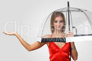Woman in black dress with umbrella