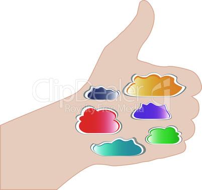 Abstract thumb up like hand symbol illustration