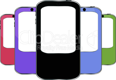 vector multicolored smart phone set
