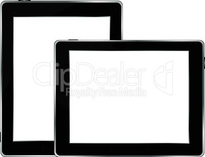 Black tablet pc set on white background