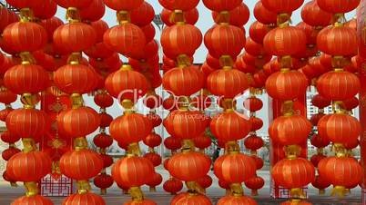 Red lanterns tassel swaying in wind,elements of East,china new year.