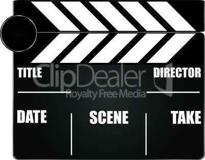 movie clapper board isolated on white background