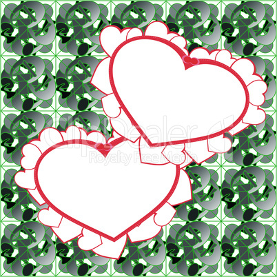 two heart background vector design
