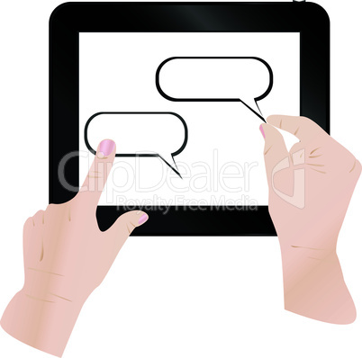 cloud computing and touch pad concept. hand touch the cloud