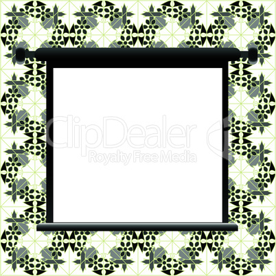 Blank billboard on floral wall for your advertisement