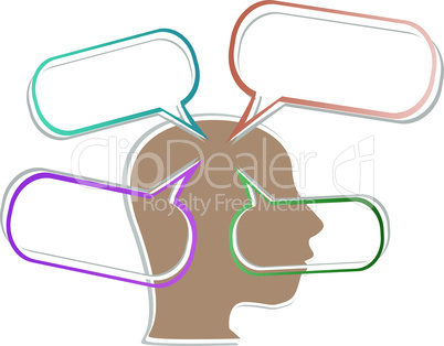 vector head silhouette with abstract speech bubble