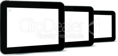 Set of digital tablets with blank screen isolated on white