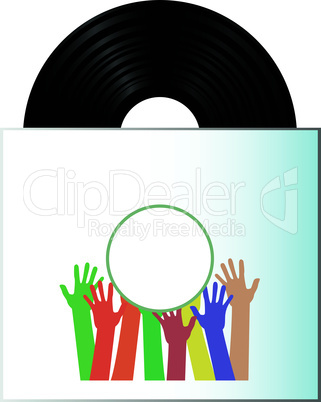 Vinyl record disk in box on white background with many hands