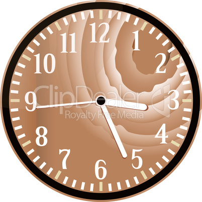 Wall retro wood clock isolated on white