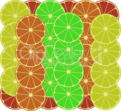 citrus fruits vector pattern background - grapefruit, lemon, lime