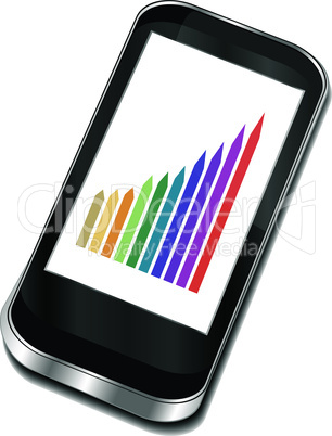smart phone with graphic picture. 3d vector iphone