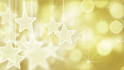 gold stars and bokeh lights loop background