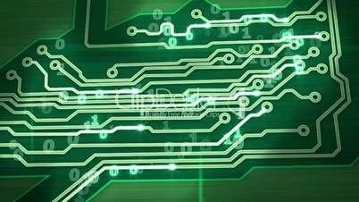 green digital circuit board pan loop
