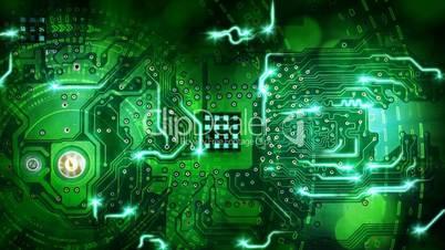 green computer circuit board background loop