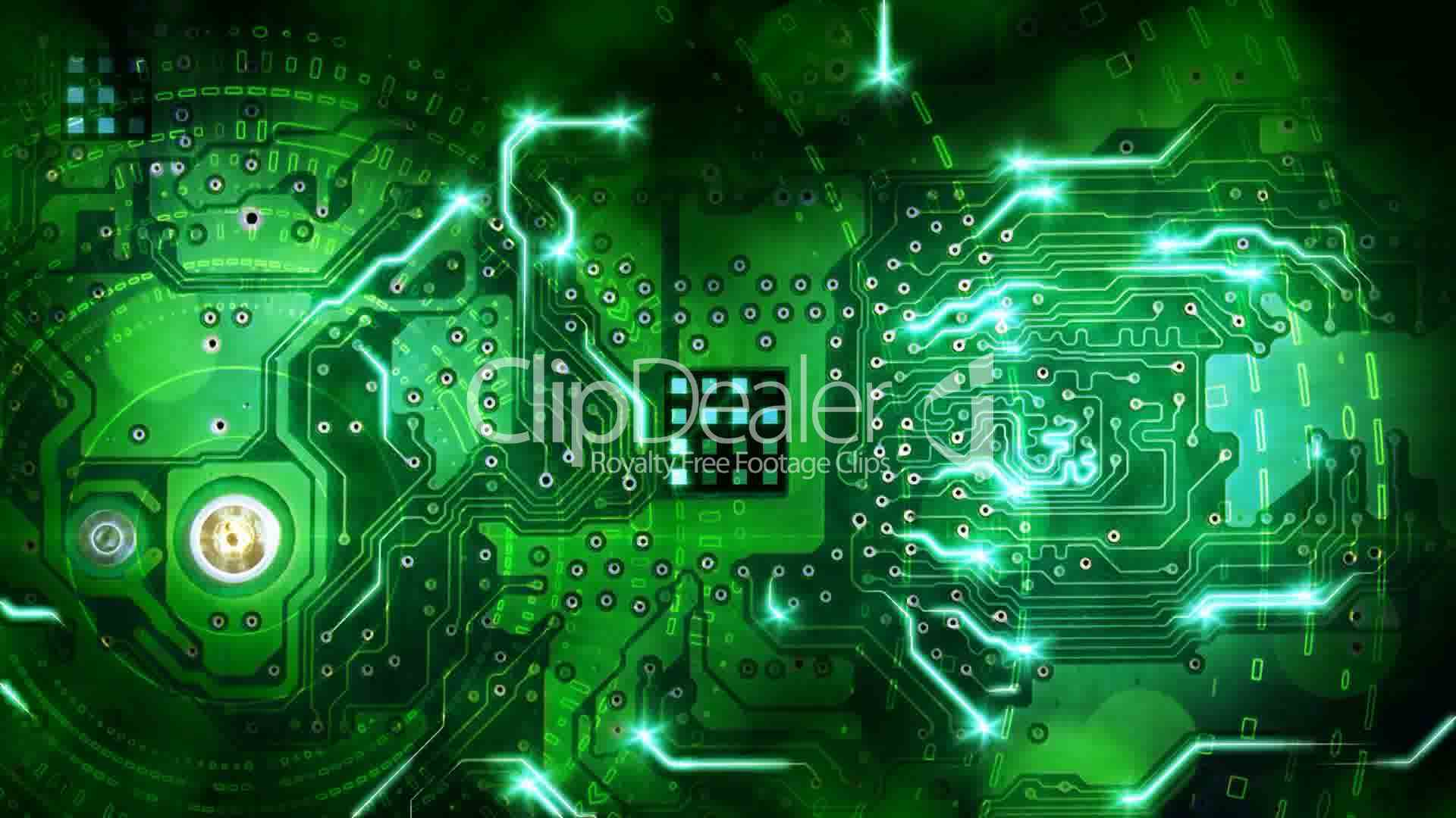 Green Computer Circuit Board Background Loop Royalty Free Video And Stock Footage