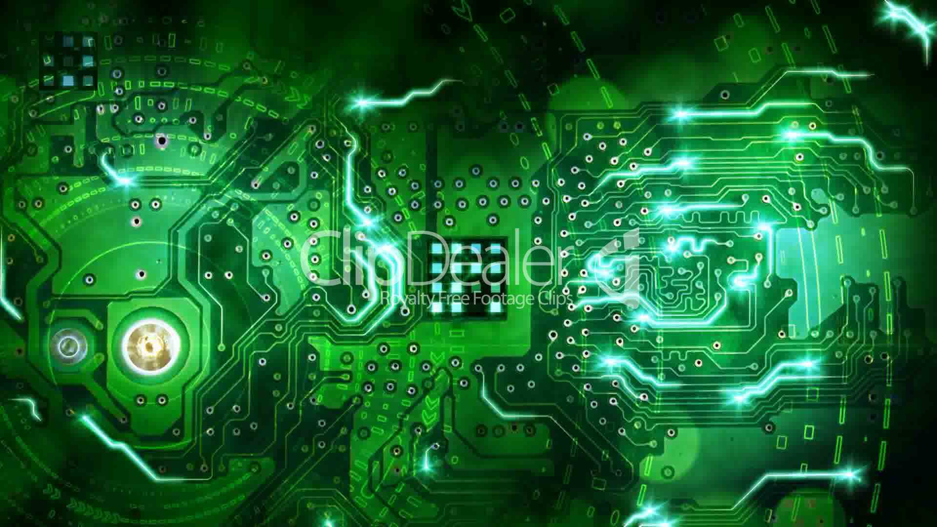 green computer circuit board background loop: Royalty-free ... Computer  Chip Background