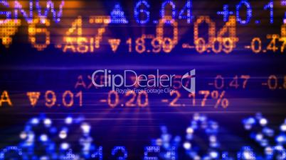 stock market quotes orange blue seamless loop background