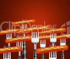 Hotdog on forks