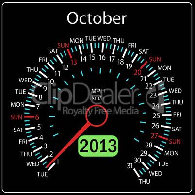 2013 year calendar speedometer car in vector. October.