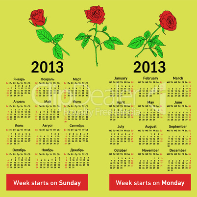 Stylish  calendar with flowers  for 2013.