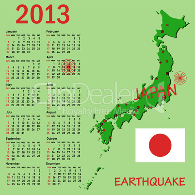Calendar Japan map with danger on an atomic power station for 2013. Week starts on Sunday.