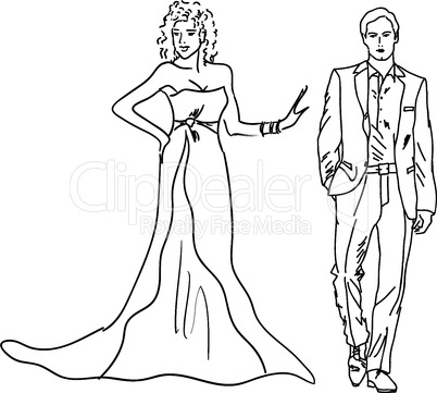 Silhouette of bride and groom,  the vector