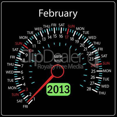 2013 year calendar speedometer car in vector. February.