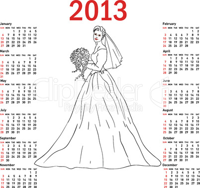 Stylish calendar Bride in wedding dress white with bouquet for 2013. Week starts on Sunday.