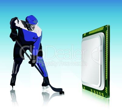 hockey player and computer processor