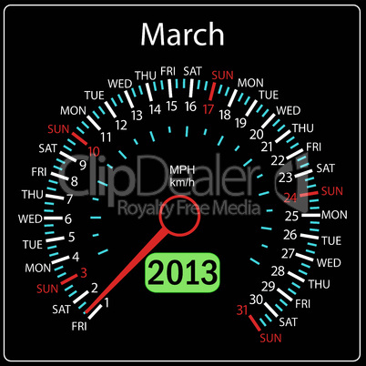 2013 year calendar speedometer car in vector. March.